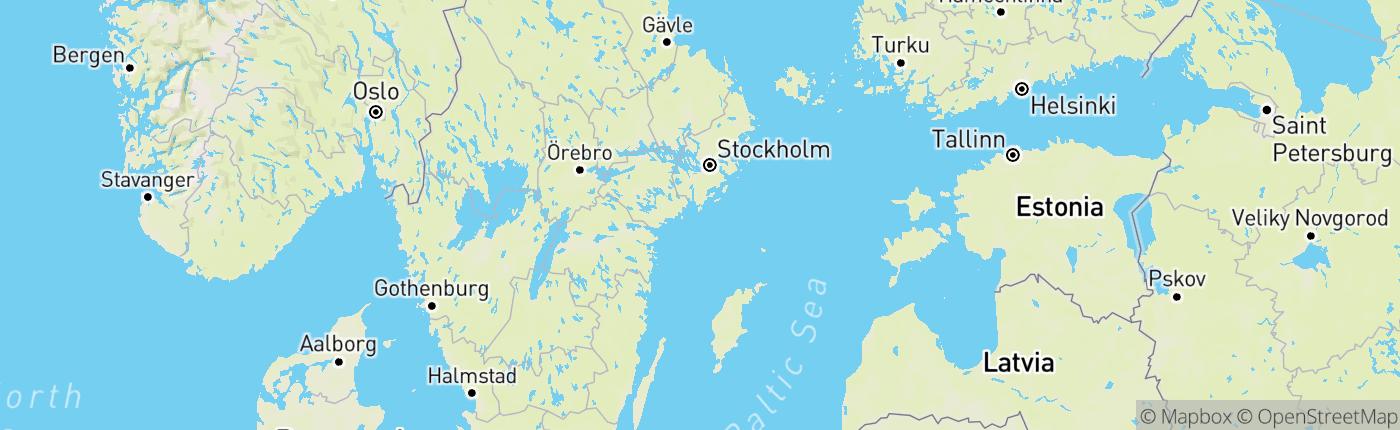 Mapa Švédsko
